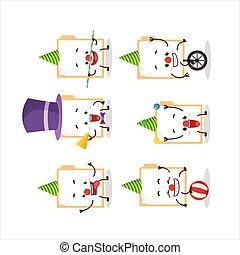 Cartoon character of brown manila folder with various circus...