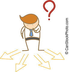 cartoon character of business man confusing which direction to go
