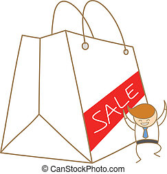 cartoon character of business man happy for big sale