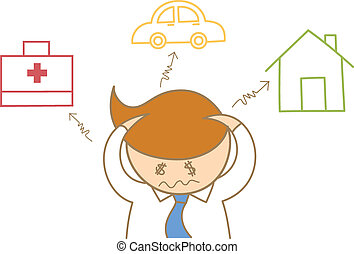 cartoon character of business man headache about debt and expense for house car and health care