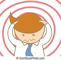 cartoon character of business man headache and confusing