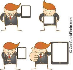 cartoon character of business man present tablet set