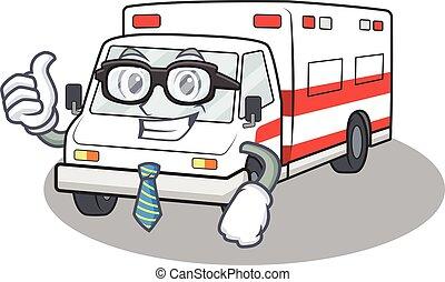 cartoon character of Businessman ambulance wearing glasses