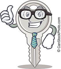 cartoon character of Businessman key wearing glasses