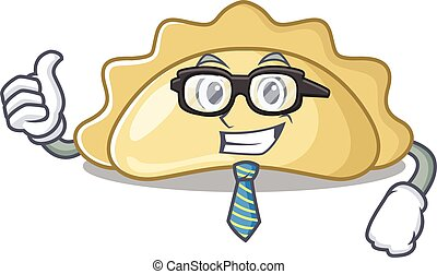 cartoon character of Businessman pierogi wearing glasses. Vector illustration