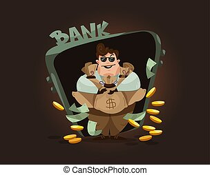 Cartoon character of businessman, successful banker with money.