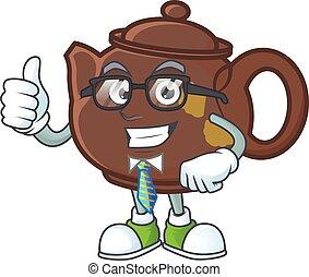 cartoon character of Businessman teapot wearing glasses