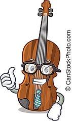 cartoon character of Businessman violin wearing glasses