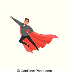 Cartoon character of businessman with superhero mantle flying with hand up. Cheerful caucasian male in jacket, pants, tie and shirt. Office worker. Flat vector design