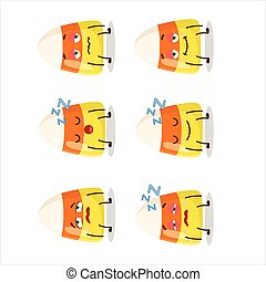 Cartoon character of candy corn with sleepy expression