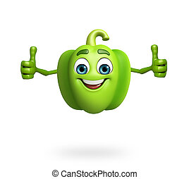 Cartoon character of capsicum - 3d rendered illustration of...