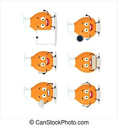Cartoon character of chicken thighs with various chef emoticons