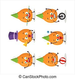 Cartoon character of chicken thighs with various circus shows