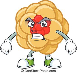 cartoon character of chinese gold flower with angry face
