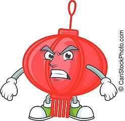 cartoon character of chinese lampion with angry face