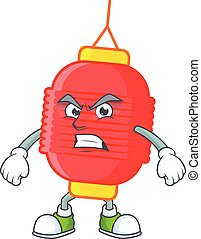 cartoon character of chinese lantern with angry face