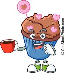 cartoon character of chocolate love cupcake with a cup of coffee