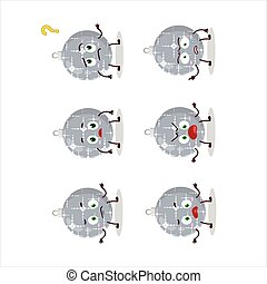 Cartoon character of christmas ball grey with what ...