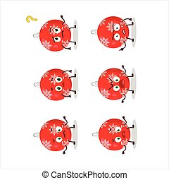 Cartoon character of christmas ball red with what expression...