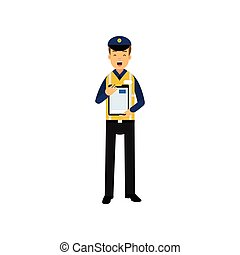 Cartoon character of city road police officer in uniform standing with clipboard in hands