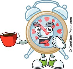 cartoon character of clock love with a cup of coffee