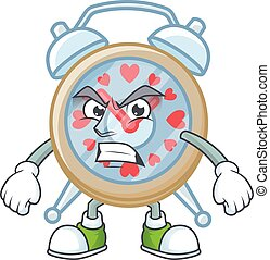 cartoon character of clock love with angry face