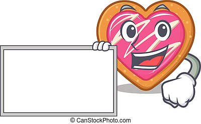 cartoon character of cookie heart design concept bring a board