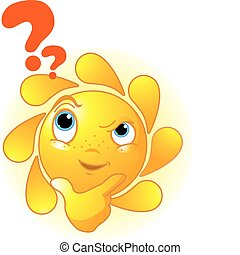 Cute Summer Sun thinking - Cartoon Character of Cute Summer...