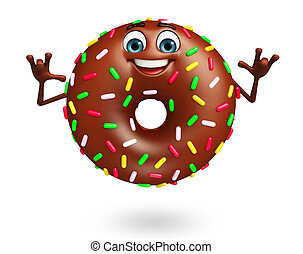 Cartoon character of donuts - 3d rendered illustration of...