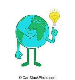 Cartoon character of Earth with idea