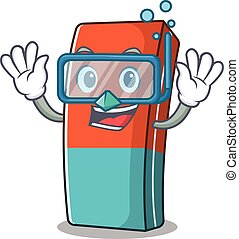 cartoon character of eraser wearing Diving glasses