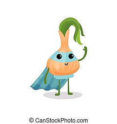 Cartoon character of fantastic onion in superhero suit...