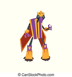 Cartoon character of fantastic robot transformer. Futuristic monster with metal body. Isolated flat vector design