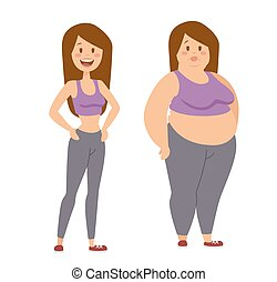 Cartoon character of fat woman and lean girl, fat woman dieting fitness. Fat woman standing stands next to her thinner clone cartoon vector flat illustration.