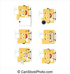 Cartoon character of file folder with various chef emoticons...