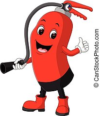 Character of fire extinguisher giving thumb up