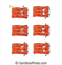 Cartoon character of fried bacon with what expression.Vector...