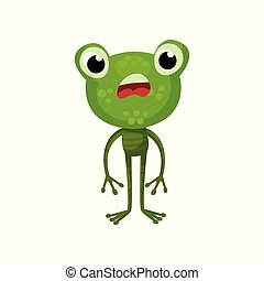 Cartoon character of frog with shocked face expression. Green amphibian animal with big head. Flat vector design for children book