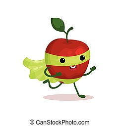 Cartoon character of funny superhero apple with cape and...