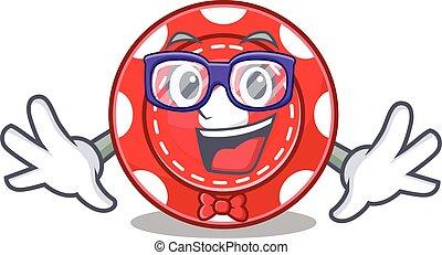 cartoon character of Geek gambling chips design