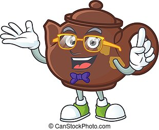 cartoon character of Geek teapot design style