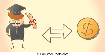 cartoon character of graduate student and dollar coin