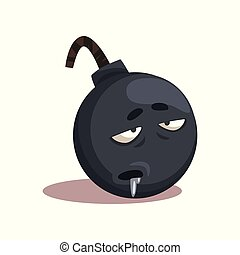 Cartoon character of gray bomb with sick face expression. Colored flat vector design for print, social network sticker or postcard