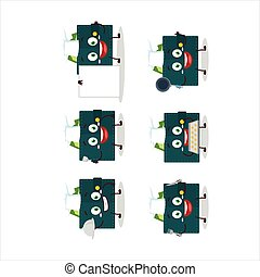 Cartoon character of green wallet with various chef ...