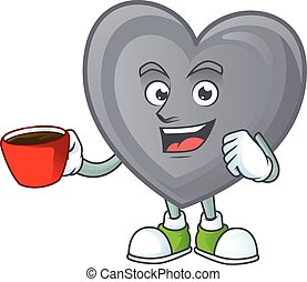 cartoon character of grey love with a cup of coffee