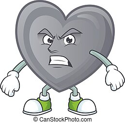 cartoon character of grey love with angry face