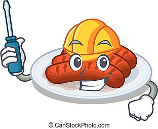 cartoon character of grilled sausage worked as an automotive
