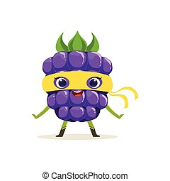 Cartoon character of happy superhero blackberry - Cheerful...