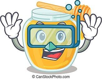 cartoon character of honey wearing Diving glasses