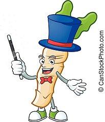 Cartoon character of horseradish performance as a Magician. Vector illustration